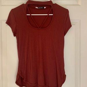Red v neck shirt